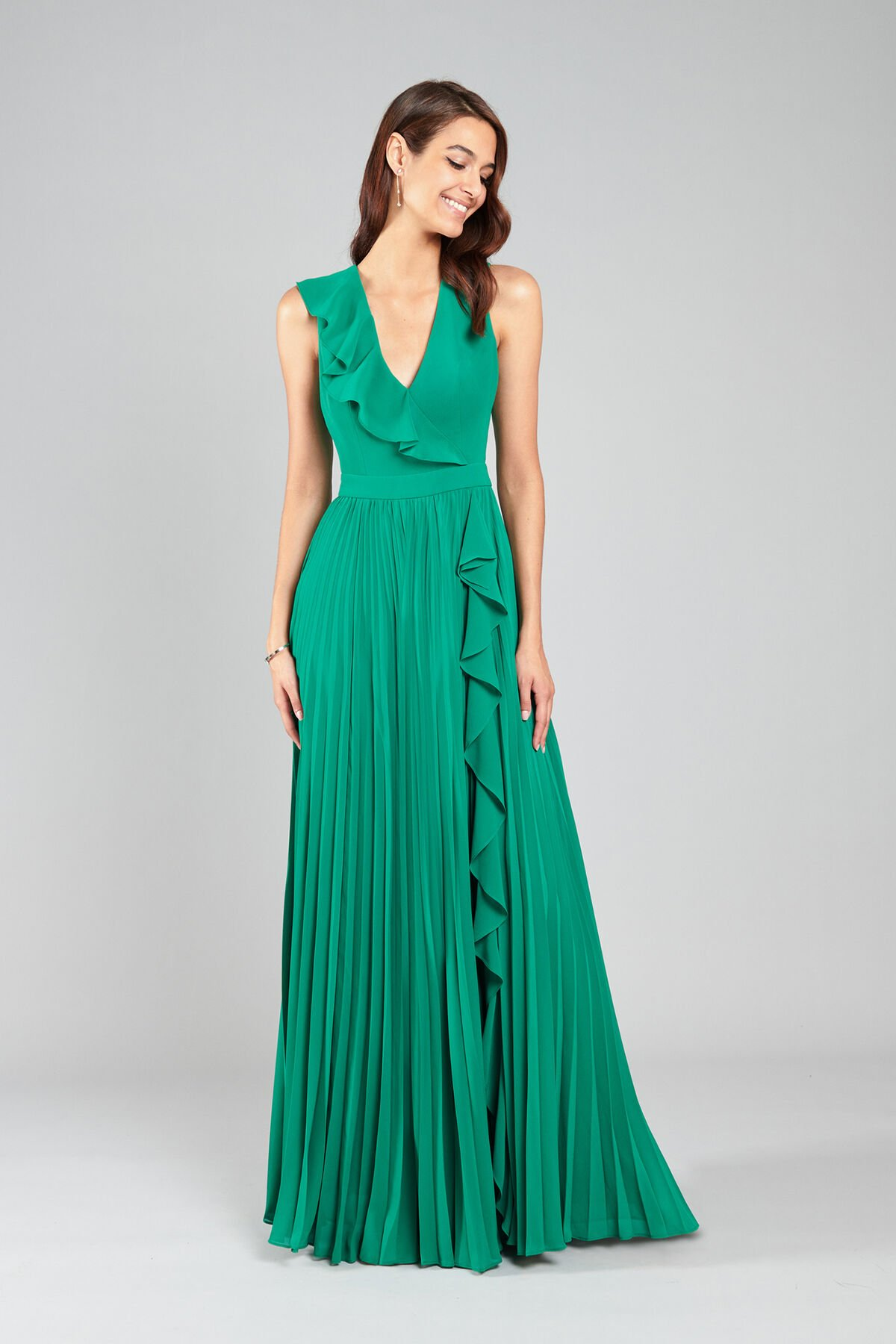 Georgette-Kleid mit Plisseerock