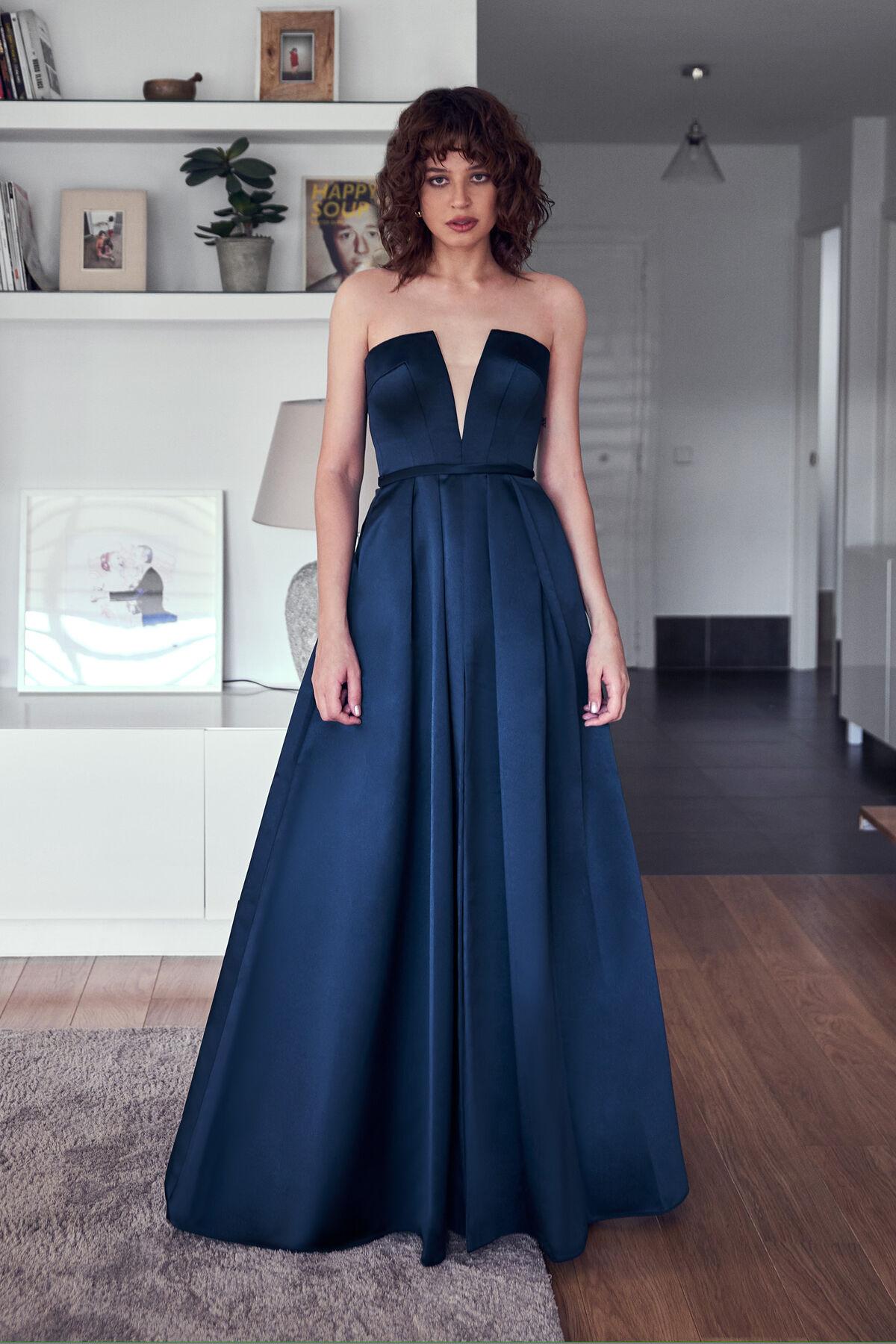Top Kleid aus Satin mit V Ausschnitt